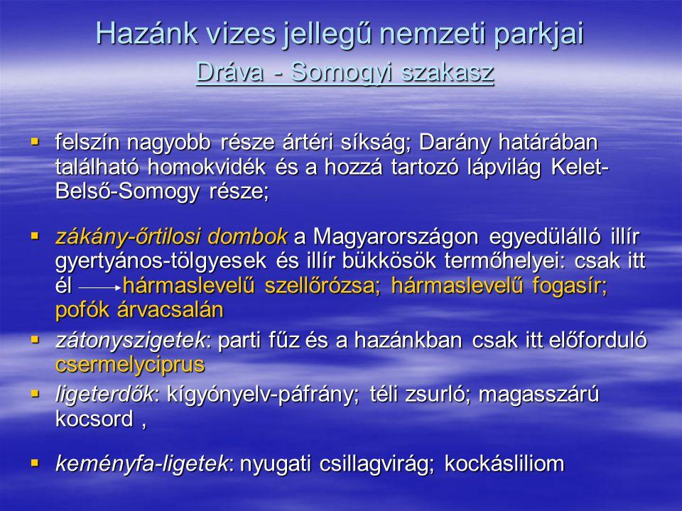 Hazánk vizes jellegű nemzeti parkjai Dráva - Somogyi szakasz  felszín nagyobb része ártéri síkság; Darány határában található homokvidék és a hozzá t