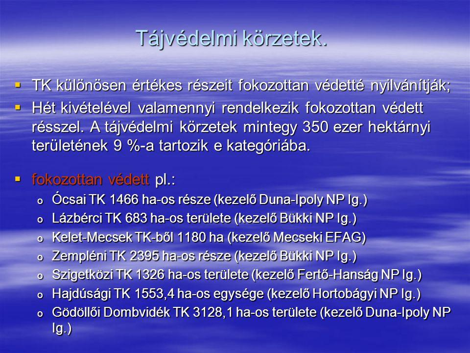 Tájvédelmi körzetek.  TK különösen értékes részeit fokozottan védetté nyilvánítják;  Hét kivételével valamennyi rendelkezik fokozottan védett réssze