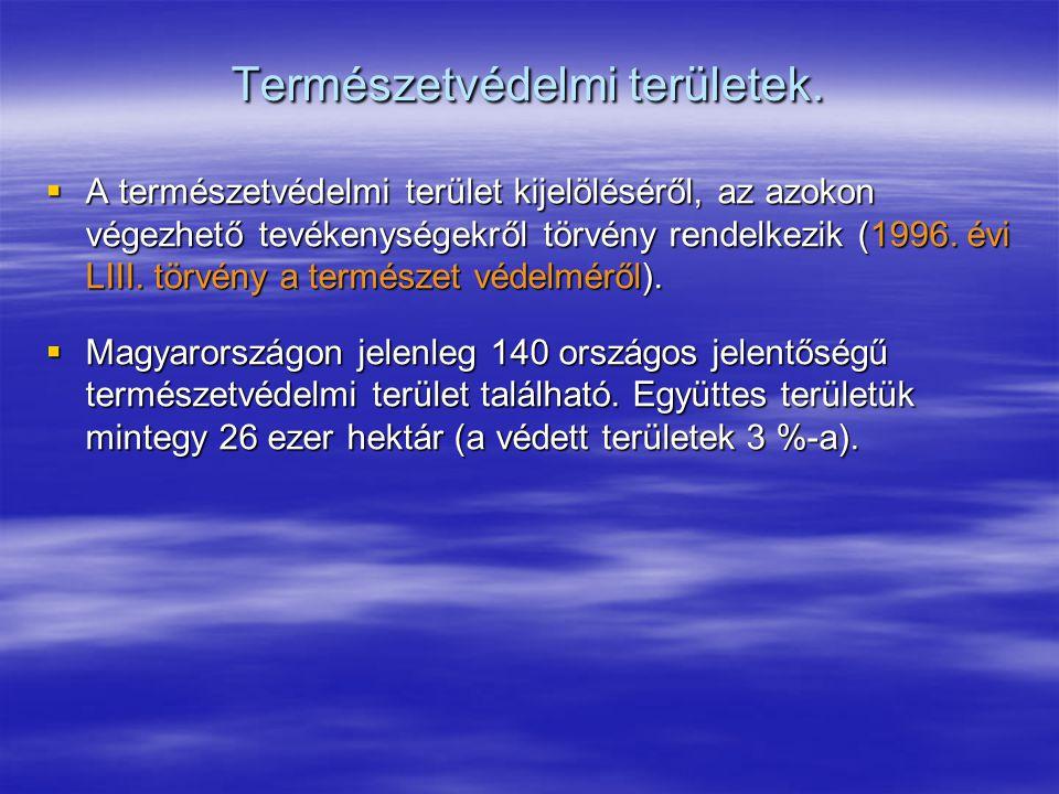 Természetvédelmi területek.  A természetvédelmi terület kijelöléséről, az azokon végezhető tevékenységekről törvény rendelkezik (1996. évi LIII. törv