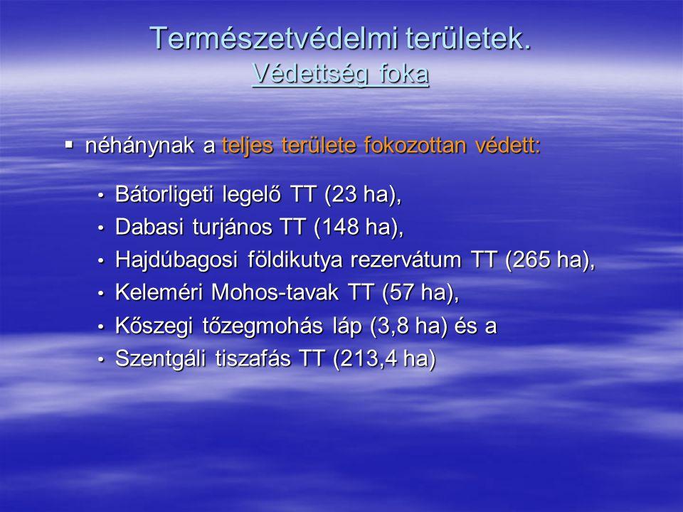 Természetvédelmi területek. Védettség foka  néhánynak a teljes területe fokozottan védett: Bátorligeti legelő TT (23 ha), Bátorligeti legelő TT (23 h