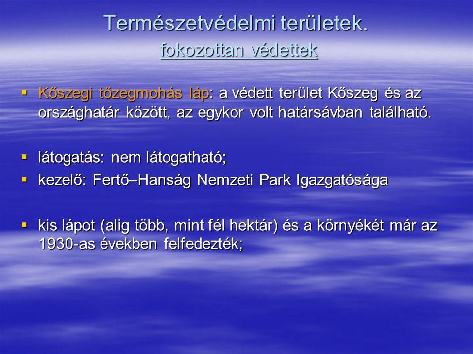 Természetvédelmi területek. fokozottan védettek  Kőszegi tőzegmohás láp: a védett terület Kőszeg és az országhatár között, az egykor volt határsávban