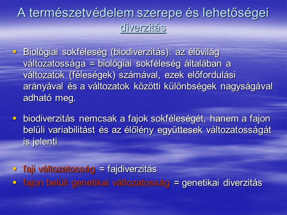 A természetvédelem szerepe és lehetőségei diverzitás  Biológiai sokféleség (biodiverzitás): az élővilág változatossága = biológiai sokféleség általáb
