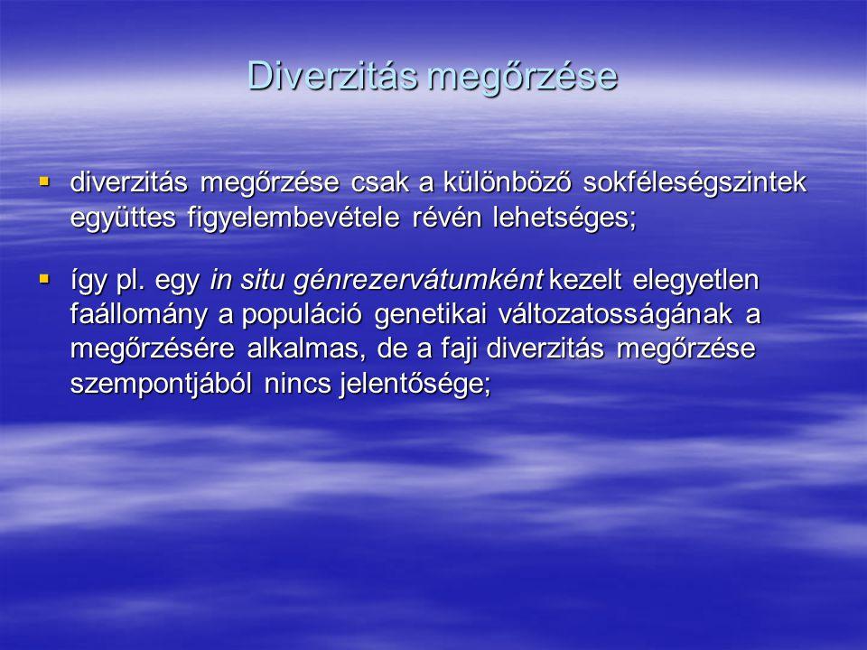 Diverzitás megőrzése  diverzitás megőrzése csak a különböző sokféleségszintek együttes figyelembevétele révén lehetséges;  így pl. egy in situ génre