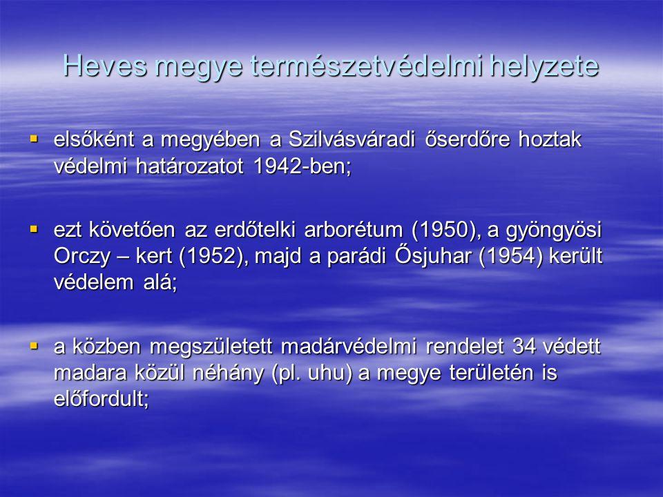 Heves megye természetvédelmi helyzete  elsőként a megyében a Szilvásváradi őserdőre hoztak védelmi határozatot 1942-ben;  ezt követően az erdőtelki