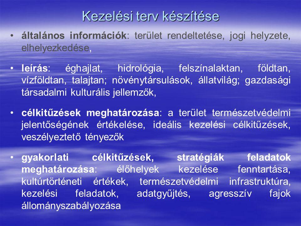 Kezelési terv készítése általános információk: terület rendeltetése, jogi helyzete, elhelyezkedése, leírás: éghajlat, hidrológia, felszínalaktan, föld