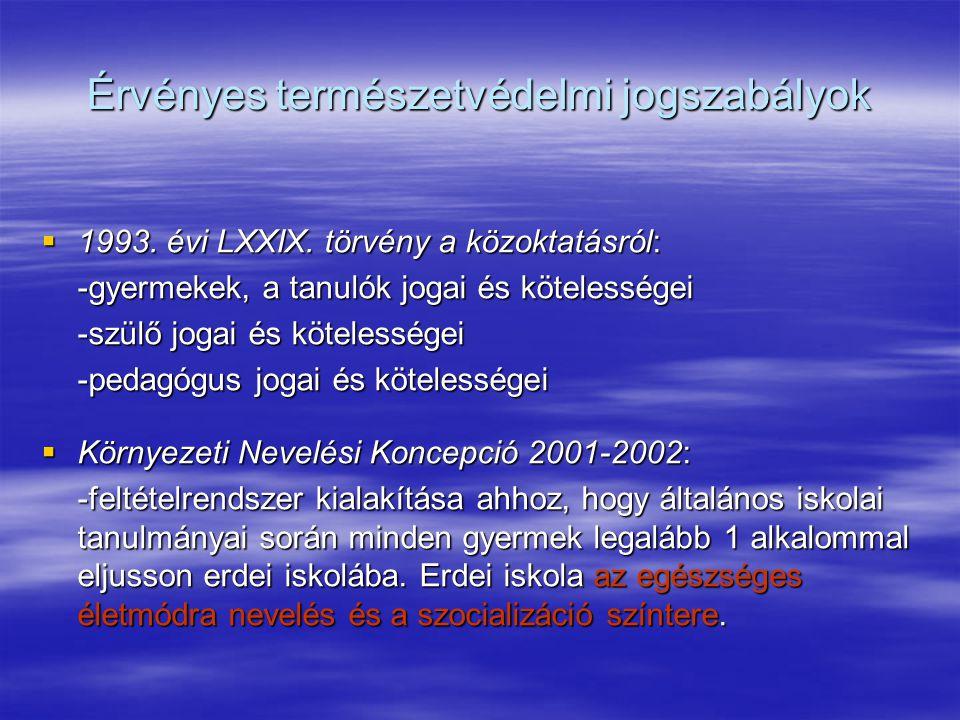 Érvényes természetvédelmi jogszabályok  1993. évi LXXIX. törvény a közoktatásról: -gyermekek, a tanulók jogai és kötelességei -szülő jogai és köteles