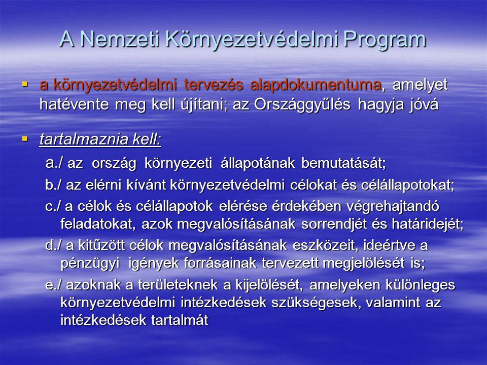 A Nemzeti Környezetvédelmi Program  a környezetvédelmi tervezés alapdokumentuma, amelyet hatévente meg kell újítani; az Országgyűlés hagyja jóvá  ta