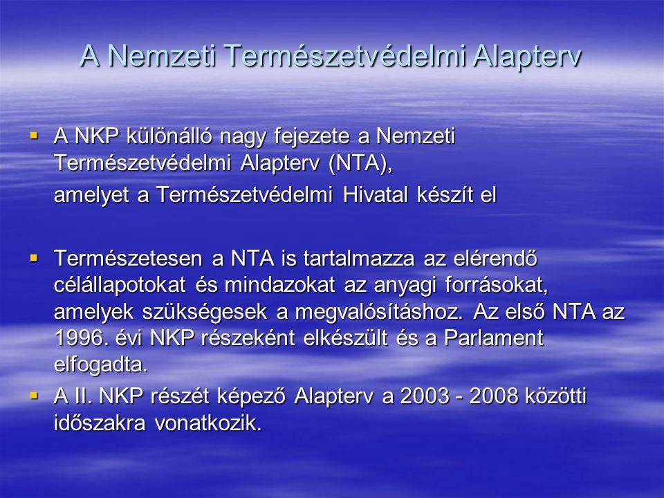 A Nemzeti Természetvédelmi Alapterv  A NKP különálló nagy fejezete a Nemzeti Természetvédelmi Alapterv (NTA), amelyet a Természetvédelmi Hivatal kész