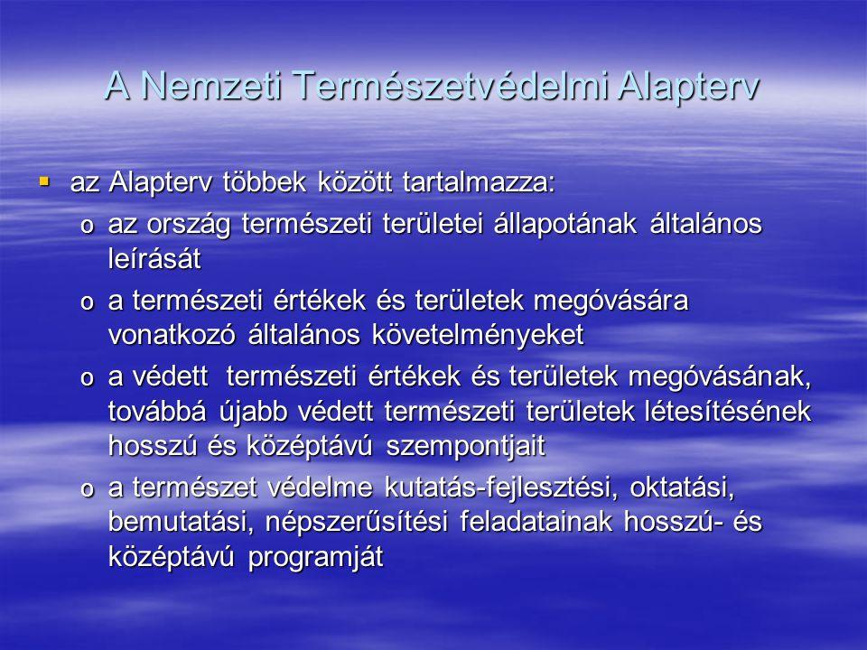A Nemzeti Természetvédelmi Alapterv  az Alapterv többek között tartalmazza: o az ország természeti területei állapotának általános leírását o a termé