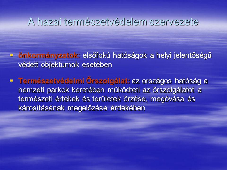 A hazai természetvédelem szervezete  önkormányzatok: elsőfokú hatóságok a helyi jelentőségű védett objektumok esetében  Természetvédelmi Őrszolgálat