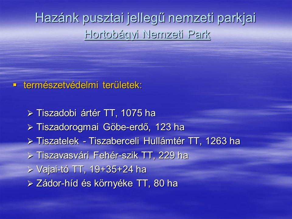 Hazánk pusztai jellegű nemzeti parkjai Hortobágyi Nemzeti Park  természetvédelmi területek:  Tiszadobi ártér TT, 1075 ha  Tiszadorogmai Göbe-erdő,