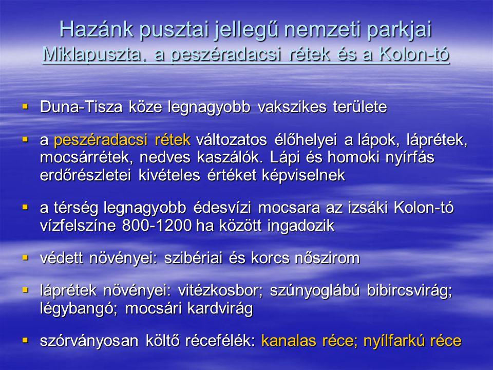 Hazánk pusztai jellegű nemzeti parkjai Miklapuszta, a peszéradacsi rétek és a Kolon-tó  Duna-Tisza köze legnagyobb vakszikes területe  a peszéradacs
