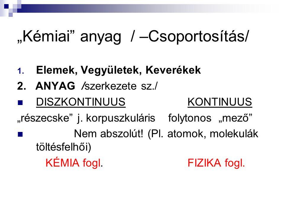 """""""Kémiai"""" anyag/ –Csoportosítás/ 1. Elemek, Vegyületek, Keverékek 2. ANYAG /szerkezete sz./ DISZKONTINUUSKONTINUUS """"részecske"""" j. korpuszkuláris folyto"""