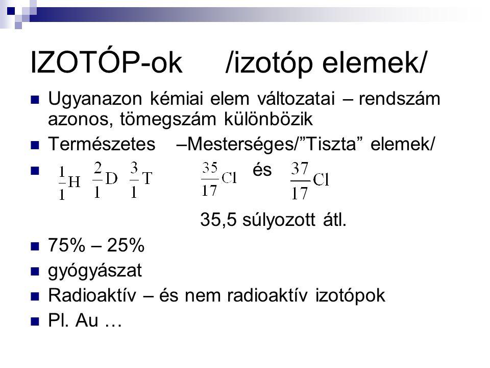 IZOTÓP-ok/izotóp elemek/ Ugyanazon kémiai elem változatai – rendszám azonos, tömegszám különbözik Természetes–Mesterséges/ Tiszta elemek/ és 35,5 súlyozott átl.