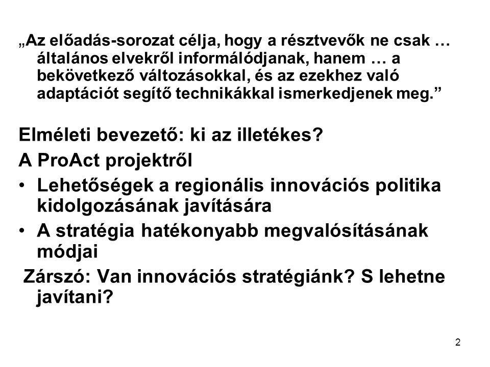 13 A magyar városok (a főváros kivételével) aligha lehetnek innovatív régiók centrumai komplex fejlesztés nélkül.