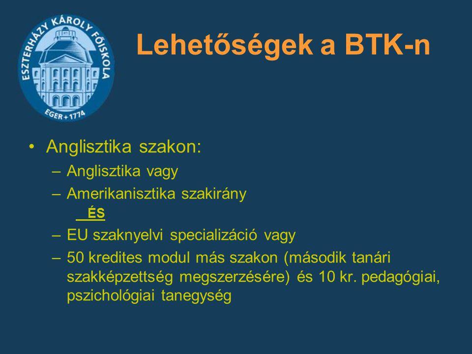 Lehetőségek a BTK-n Anglisztika szakon: –Anglisztika vagy –Amerikanisztika szakirány ÉS –EU szaknyelvi specializáció vagy –50 kredites modul más szako