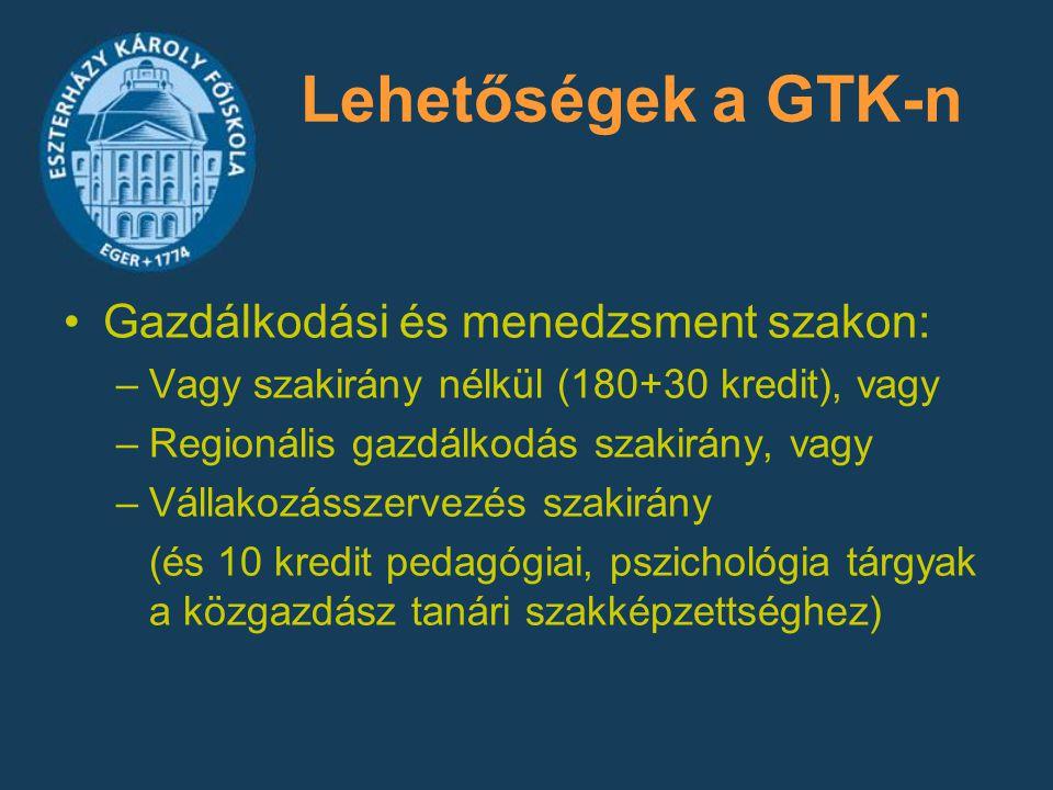 Lehetőségek a GTK-n Gazdálkodási és menedzsment szakon: –Vagy szakirány nélkül (180+30 kredit), vagy –Regionális gazdálkodás szakirány, vagy –Vállakoz