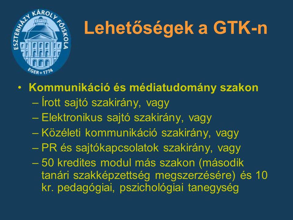 Lehetőségek a GTK-n Kommunikáció és médiatudomány szakon –Írott sajtó szakirány, vagy –Elektronikus sajtó szakirány, vagy –Közéleti kommunikáció szaki