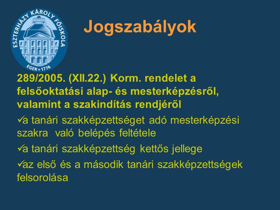 Jogszabályok 289/2005. (XII.22.) Korm. rendelet a felsőoktatási alap- és mesterképzésről, valamint a szakindítás rendjéről a tanári szakképzettséget a