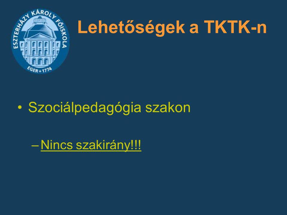 Lehetőségek a TKTK-n Szociálpedagógia szakon –Nincs szakirány!!!
