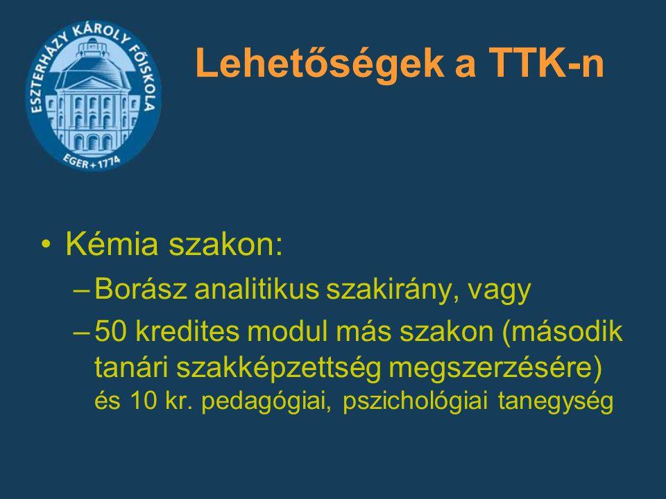 Lehetőségek a TTK-n Kémia szakon: –Borász analitikus szakirány, vagy –50 kredites modul más szakon (második tanári szakképzettség megszerzésére) és 10