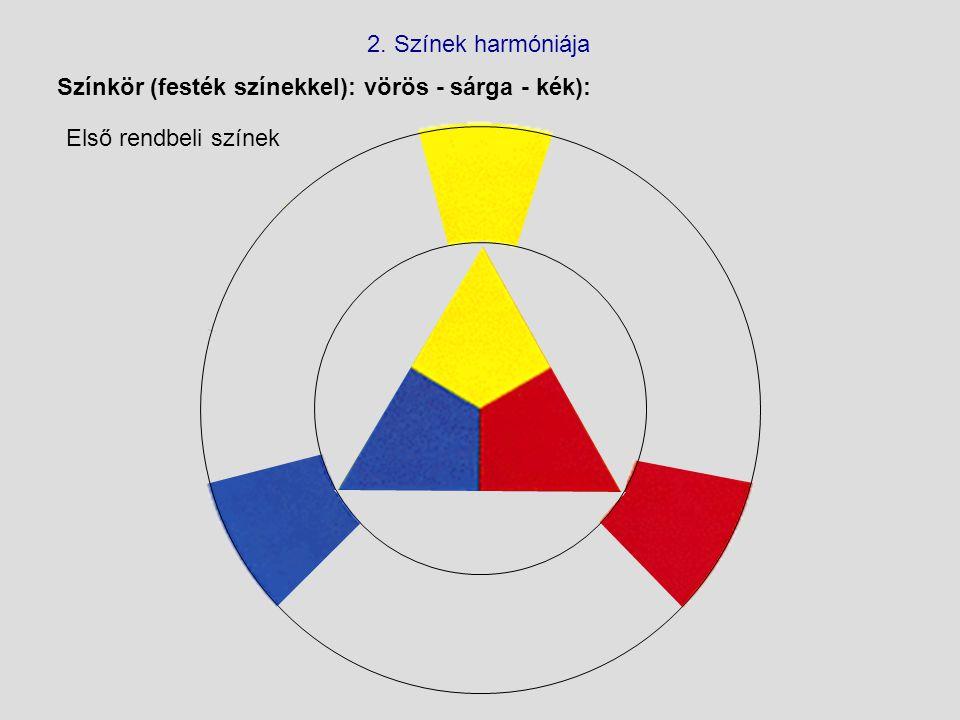 Színkör (festék színekkel): vörös - sárga - kék): 2. Színek harmóniája Első rendbeli színek