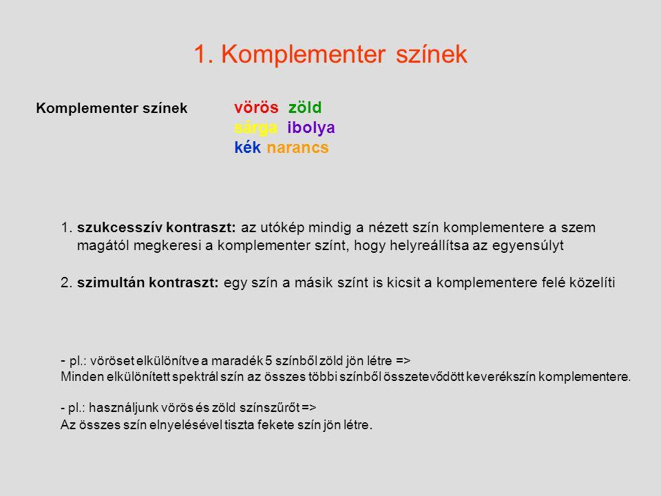 1.Komplementer színek Komplementer színek vörös zöld sárga ibolya kék narancs 1.