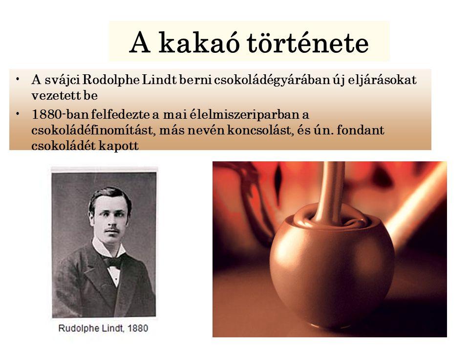 A svájci Rodolphe Lindt berni csokoládégyárában új eljárásokat vezetett be 1880-ban felfedezte a mai élelmiszeriparban a csokoládéfinomítást, más nevén koncsolást, és ún.