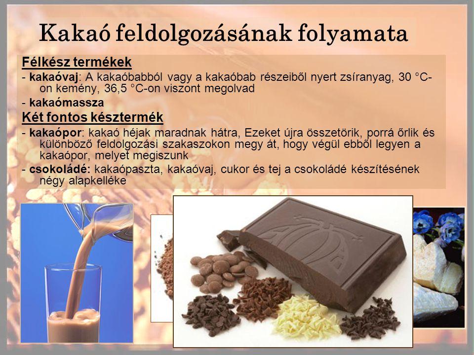 Kakaó feldolgozásának folyamata Félkész termékek - kakaóvaj: A kakaóbabból vagy a kakaóbab részeiből nyert zsíranyag, 30 °C- on kemény, 36,5 °C-on viszont megolvad - kakaómassza Két fontos késztermék - kakaópor: kakaó héjak maradnak hátra, Ezeket újra összetörik, porrá őrlik és különböző feldolgozási szakaszokon megy át, hogy végül ebből legyen a kakaópor, melyet megiszunk - csokoládé: kakaópaszta, kakaóvaj, cukor és tej a csokoládé készítésének négy alapkelléke