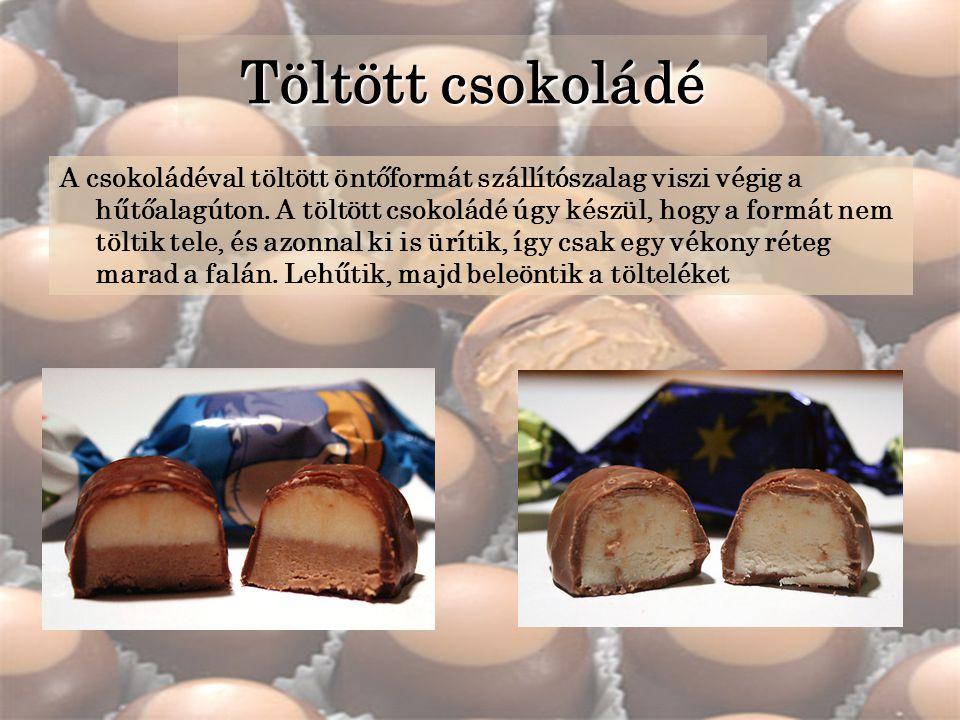 Töltött csokoládé A csokoládéval töltött öntőformát szállítószalag viszi végig a hűtőalagúton.