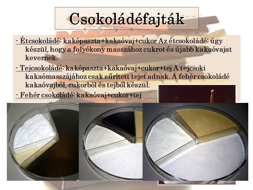 Csokoládéfajták - Étcsokoládé: kakópaszta+kakaóvaj+cukor Az étcsokoládé: úgy készül, hogy a folyékony masszához cukrot és újabb kakaóvajat kevernek.