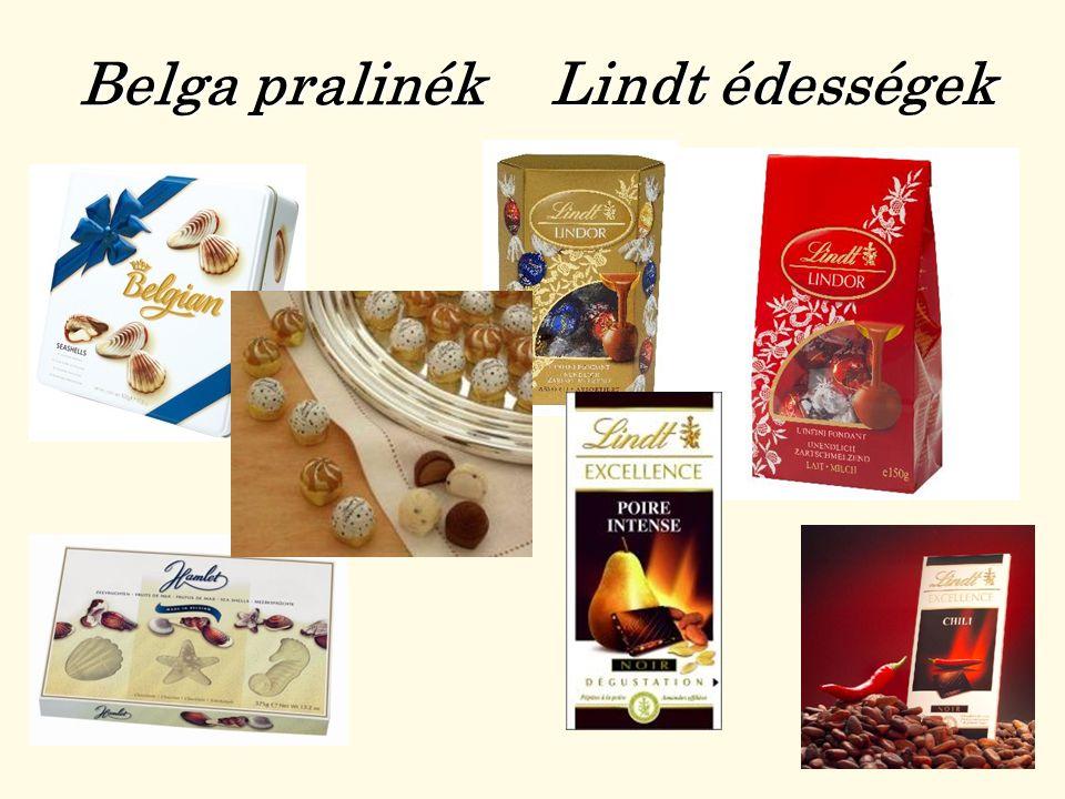 Belga pralinék Lindt édességek