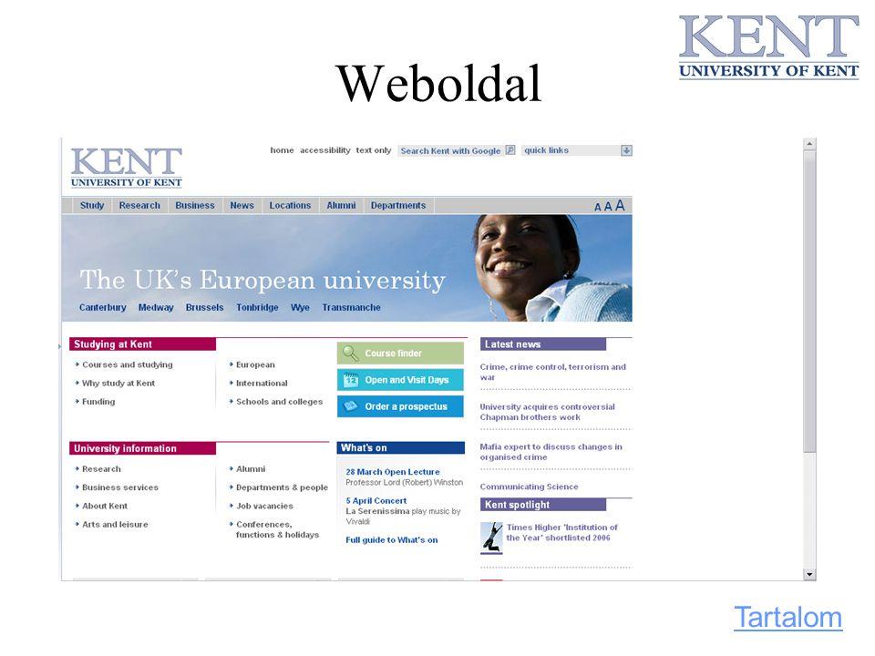Weboldal Tartalom
