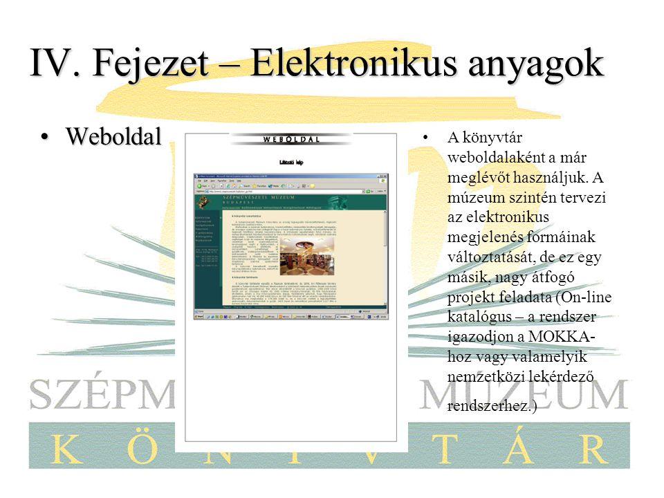 IV. Fejezet – Elektronikus anyagok WeboldalWeboldal A könyvtár weboldalaként a már meglévőt használjuk. A múzeum szintén tervezi az elektronikus megje