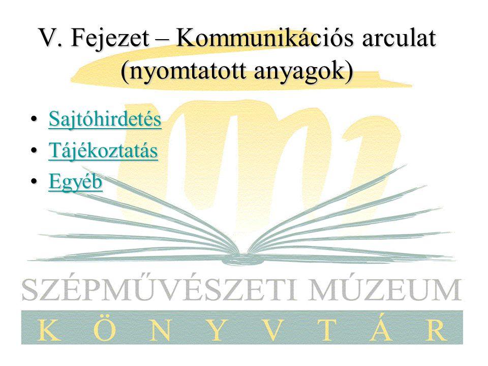V. Fejezet – Kommunikációs arculat (nyomtatott anyagok) SajtóhirdetésSajtóhirdetésSajtóhirdetés TájékoztatásTájékoztatásTájékoztatás EgyébEgyébEgyéb