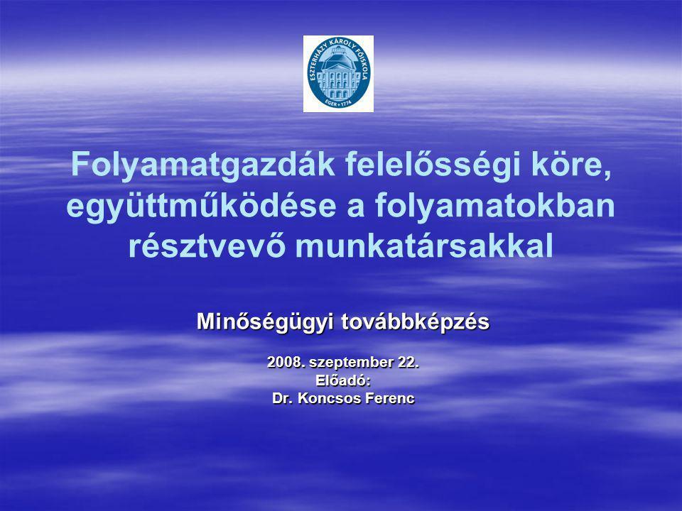 Folyamatgazdák felelősségi köre, együttműködése a folyamatokban résztvevő munkatársakkal Minőségügyi továbbképzés 2008. szeptember 22. Előadó: Dr. Kon