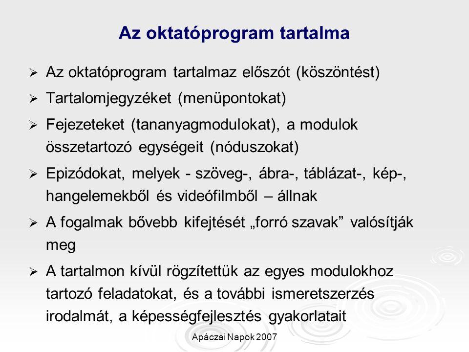 Apáczai Napok 2007 Az oktatóprogram tartalma   Az oktatóprogram tartalmaz előszót (köszöntést)   Tartalomjegyzéket (menüpontokat)   Fejezeteket