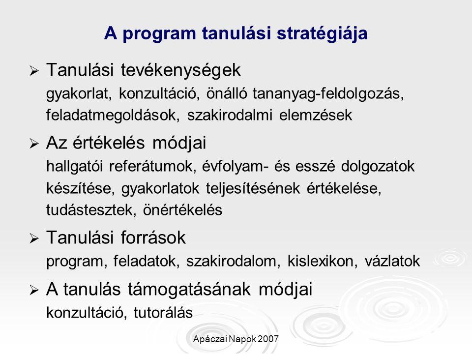 Apáczai Napok 2007 A program tanulási stratégiája   Tanulási tevékenységek gyakorlat, konzultáció, önálló tananyag-feldolgozás, feladatmegoldások, s
