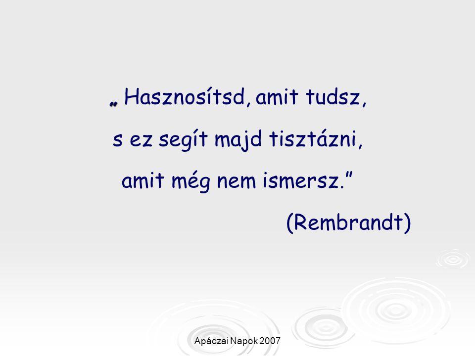 """Apáczai Napok 2007 """" """" Hasznosítsd, amit tudsz, s ez segít majd tisztázni, amit még nem ismersz."""" (Rembrandt)"""