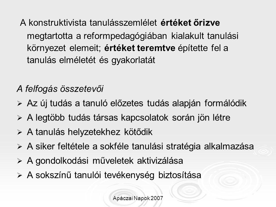 Apáczai Napok 2007 A konstruktivista tanulásszemlélet megtartotta a reformpedagógiában kialakult tanulási környezet elemeit; értéket teremtve építette