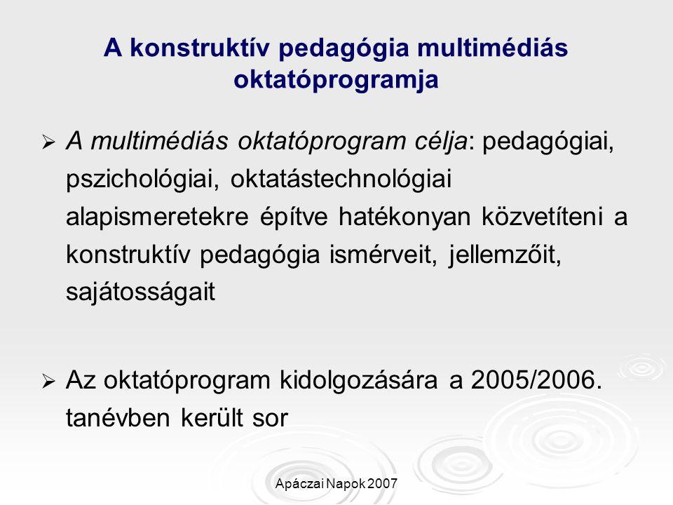 Apáczai Napok 2007 Az oktatóprogram általános céljai és követelményei   Az oktatóprogramja elsősorban kognitív média   A kognitív célok az észleléssel, megértéssel, ítéletalkotással, következtetéssel kapcsolatosak   Az affektív célok az attitűdöket, az elfogadást és az értékelést fedik le   Az eredményes ismeretelsajátítás és készségfejlesztés érdekében meghatározásra kerültek a tananyagmodulok   A modulokat kis egységekre – nóduszokra – bontottuk, az arányosság megtartásával