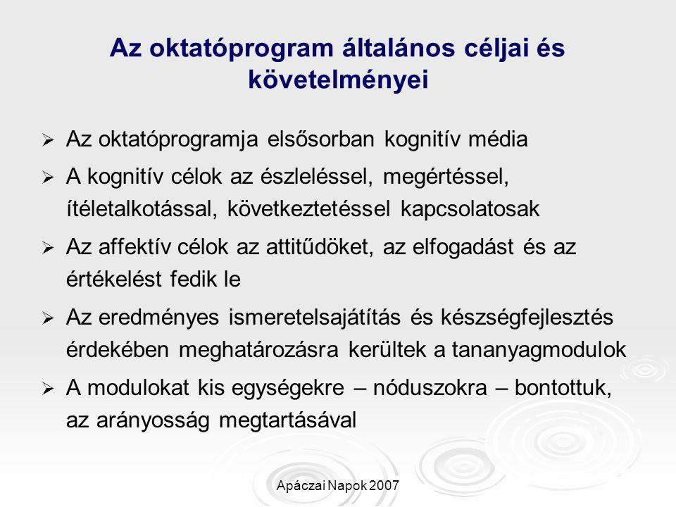 Apáczai Napok 2007 Az oktatóprogram általános céljai és követelményei   Az oktatóprogramja elsősorban kognitív média   A kognitív célok az észlelé