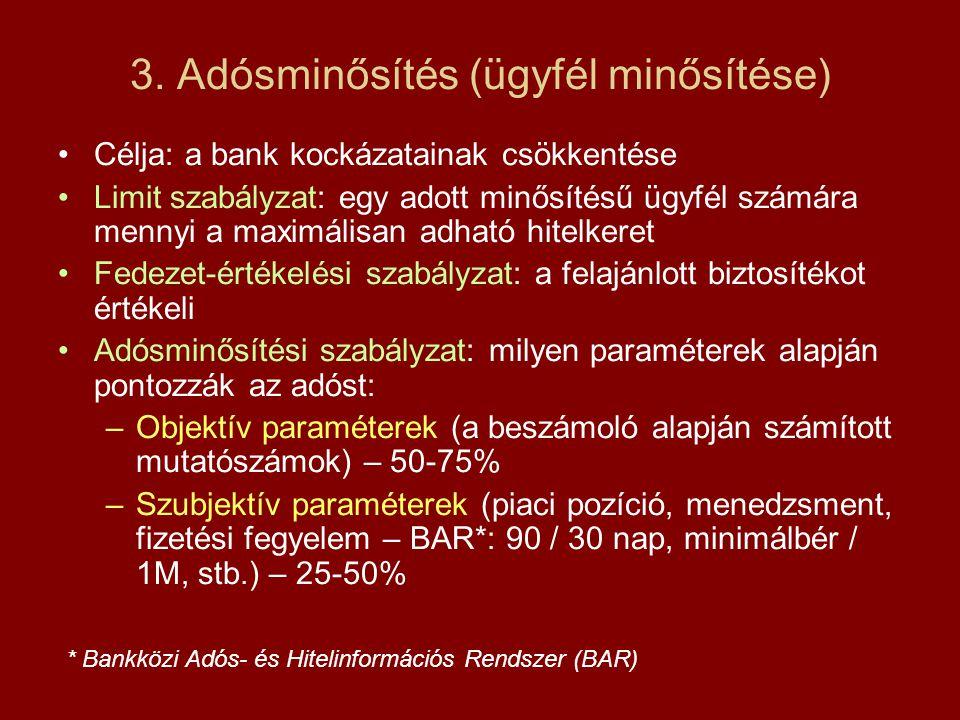 3. Adósminősítés (ügyfél minősítése) Célja: a bank kockázatainak csökkentése Limit szabályzat: egy adott minősítésű ügyfél számára mennyi a maximálisa