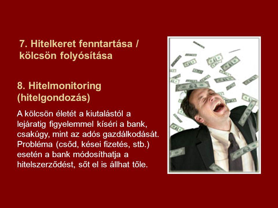 7. Hitelkeret fenntartása / kölcsön folyósítása 8. Hitelmonitoring (hitelgondozás) A kölcsön életét a kiutalástól a lejáratig figyelemmel kíséri a ban