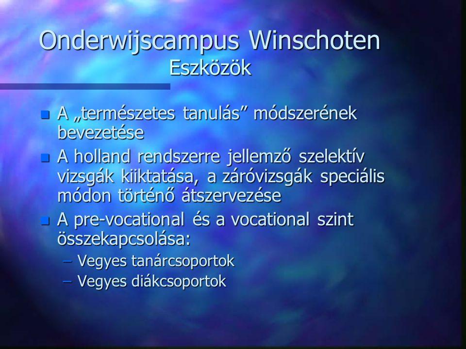 """Onderwijscampus Winschoten Eszközök n A """"természetes tanulás módszerének bevezetése n A holland rendszerre jellemző szelektív vizsgák kiiktatása, a záróvizsgák speciális módon történő átszervezése n A pre-vocational és a vocational szint összekapcsolása: –Vegyes tanárcsoportok –Vegyes diákcsoportok"""