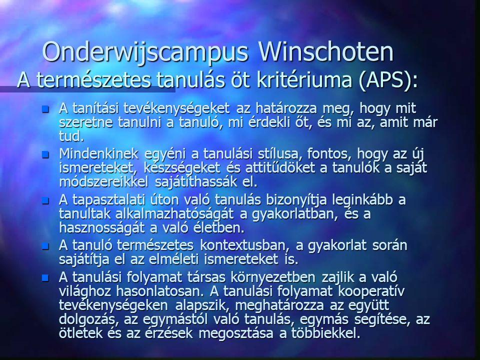 Onderwijscampus Winschoten A természetes tanulás öt kritériuma (APS): n A tanítási tevékenységeket az határozza meg, hogy mit szeretne tanulni a tanuló, mi érdekli őt, és mi az, amit már tud.