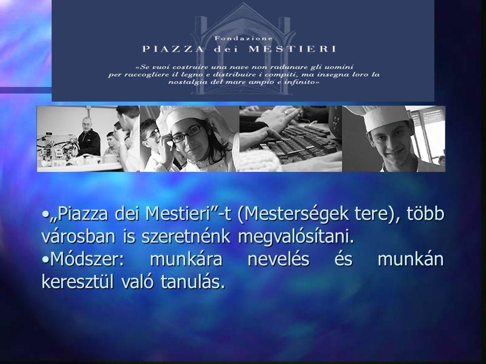 """""""Piazza dei Mestieri -t (Mesterségek tere), több városban is szeretnénk megvalósítani.""""Piazza dei Mestieri -t (Mesterségek tere), több városban is szeretnénk megvalósítani."""