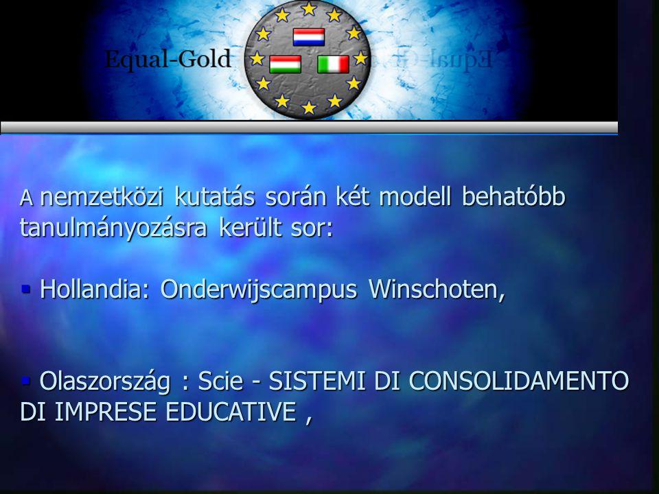 A nemzetközi kutatás során két modell behatóbb tanulmányozásra került sor:  Hollandia: Onderwijscampus Winschoten,  Olaszország : Scie - SISTEMI DI CONSOLIDAMENTO DI IMPRESE EDUCATIVE,