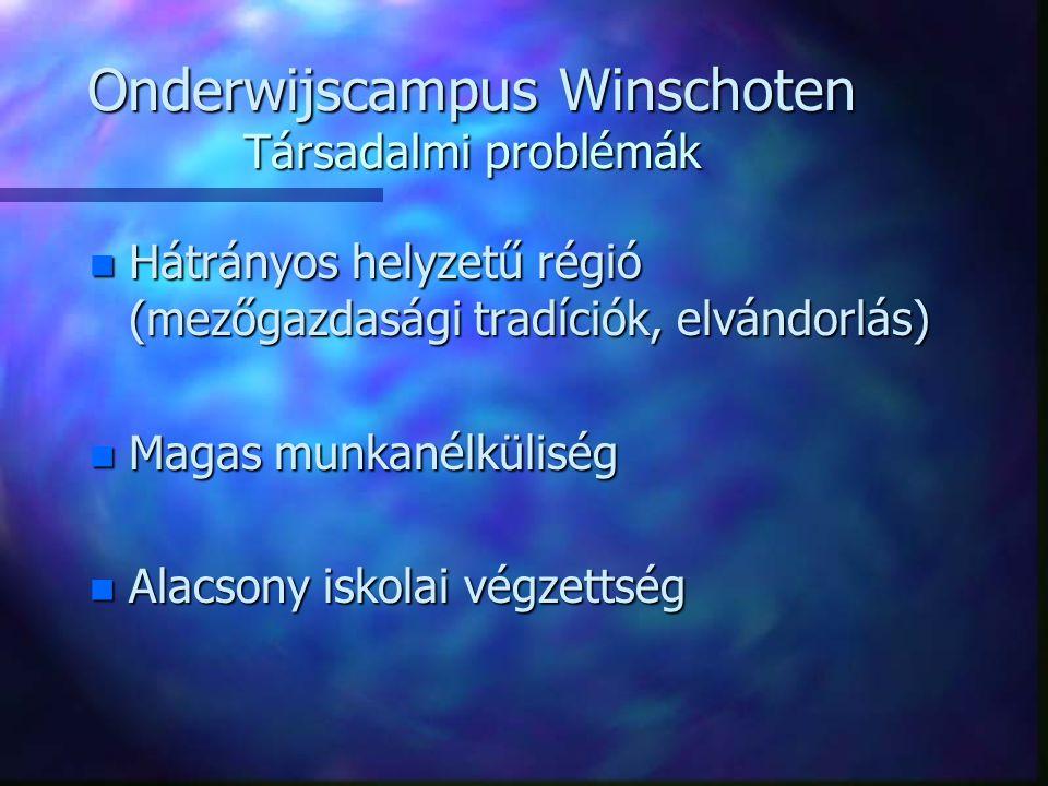 Onderwijscampus Winschoten Társadalmi problémák n Hátrányos helyzetű régió (mezőgazdasági tradíciók, elvándorlás) n Magas munkanélküliség n Alacsony iskolai végzettség
