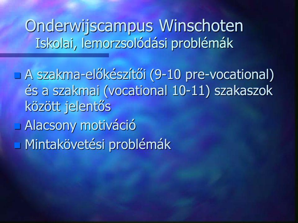 Onderwijscampus Winschoten Iskolai, lemorzsolódási problémák n A szakma-előkészítői (9-10 pre-vocational) és a szakmai (vocational 10-11) szakaszok között jelentős n Alacsony motiváció n Mintakövetési problémák